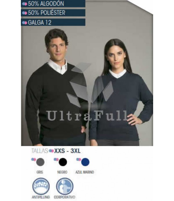SWEATER CUELLO V UNISEX M/L